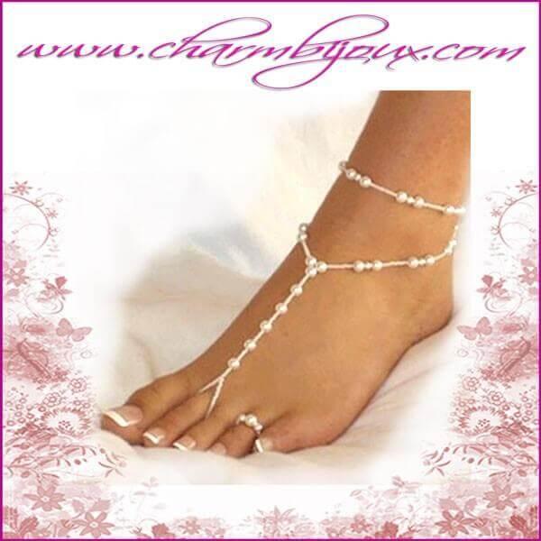 vente de chaine de cheville en perles blanches avec bague de pied assortie 12 00. Black Bedroom Furniture Sets. Home Design Ideas
