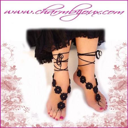 Bijoux de pied au crochet en coton noir avec 8 fleurs et lacets