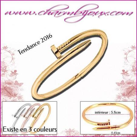 Bracelet forme Clou en Doré - Bracelet femme