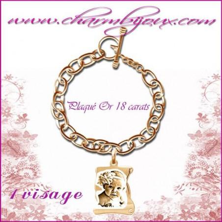 Bracelet 1 Parchemin Plaqué or avec gravure Photo OFFERTE - Gravure date- Gravure symbole - Plaqué or 18 carats
