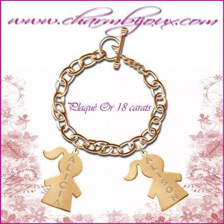 Bracelet 2 charms Fille Plaqué or avec gravure Prénom OFFERTE - Gravure date - Plaqué or 18 carats