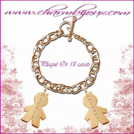 Bracelet 2 charms Garçon Plaqué or avec gravure Prénom OFFERTE - Gravure date - Plaqué or 18 carats