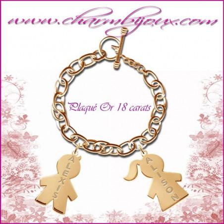 Bracelet 2 charms Fille & Garçon avec gravure Prénoms OFFERTE - Gravure date- Plaqué Or
