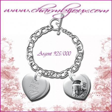 Bracelet 2 Coeurs droit Argent avec gravure Photo OFFERTE - Gravure date- Gravure symbole - Argent véritable