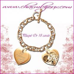 Bracelet 2 Coeurs droit Plaqué Or avec gravure Photo OFFERTE - Gravure date- Gravure symbole - Plaqué or 18 carats