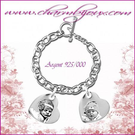 Bracelet 2 Coeurs penchés Argent avec gravure Photo OFFERTE - Gravure date- Gravure symbole - Argent véritable