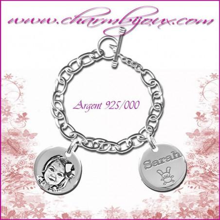 Bracelet 2 Ronds Argent avec gravure Photo OFFERTE - Gravure date- Gravure symbole - Argent véritable