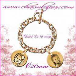 Bracelet 2 Ronds Plaqué or avec gravure Photo OFFERTE - Gravure date- Gravure symbole -Plaqué or 18 carats
