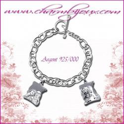 Bracelet 2 parchemins Argent avec gravure Photo OFFERTE - Gravure date- Gravure symbole - Argent véritable