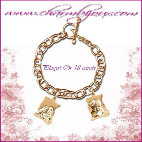Bracelet 2 Parchemins Plaqué or avec gravure Photo OFFERTE - Gravure date- Gravure symbole -Plaqué or 18 carats