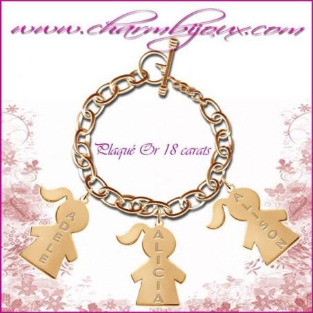 Bracelet 3 charms Fille Plaqué or avec gravure Prénom OFFERTE - Gravure date - Argent véritable