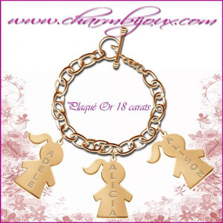 Bracelet 3 charms Garcons Plaqué or avec gravure Prénom OFFERTE - Gravure date - Argent véritable