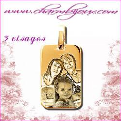Medaille Rectangle en Plaque or 18 carats - pendentif Gravure PHOTO