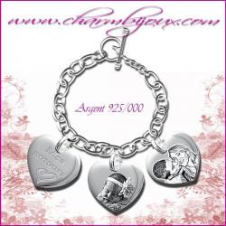Bracelet 3 Coeurs droit Argent avec gravure Photo OFFERTE - Gravure date- Gravure symbole - Argent véritable