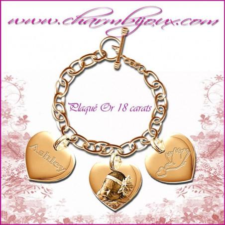 Bracelet 3 Coeurs droit PLaqué-or avec gravure Photo OFFERTE - Gravure date- Gravure symbole - PLaqué-or 18 carats