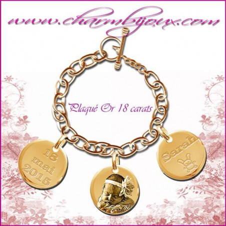 Bracelet 3 Ronds PLaqué-or avec gravure Photo OFFERTE - Gravure date- Gravure symbole - PLaqué-or 18 carats