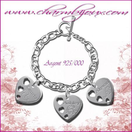 Bracelet 3 Coeurs troués Argent avec gravure Photo OFFERTE - Gravure date- Gravure symbole - Argent véritable