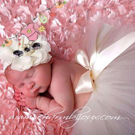 Tutu beige clair avec bandeau assorti pour Bebe - Pour Photographie naissance