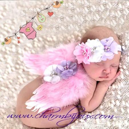 Ailes d'ange Rose avec bandeau fleurs mauve-blanc-rose pour Bebe -Pour Photographie naissance