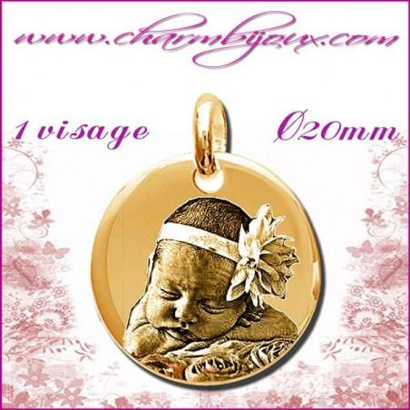 Médaille Ronde diametre 20 mm en Plaqué or 18 carats -pendentif Gravure PHOTO