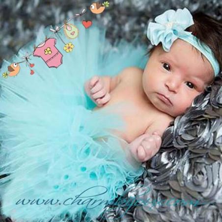 Tutu Bleu vert avec bandeau assorti pour Bebe - Pour Photographie naissance