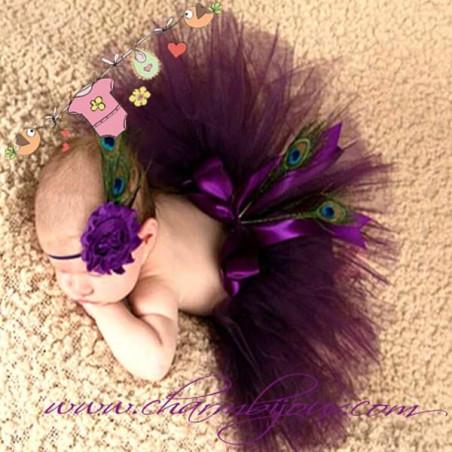 Tutu plume de paon Violet avec bandeau assorti pour Bebe - Pour Photographie naissance