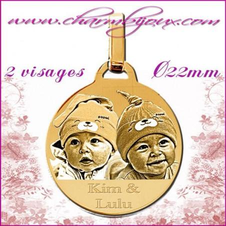 Médaille Ronde en Plaqué or 18 carats - pendentif Gravure PHOTO