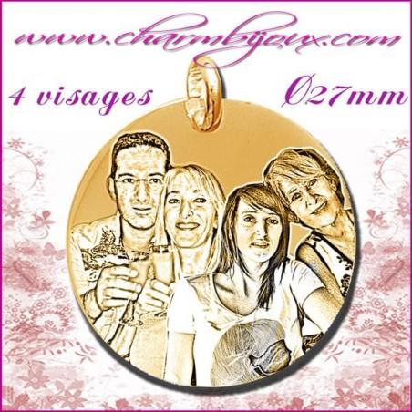 Médaille Ronde en Plaqué or 18 carats - GRAVURE PHOTO 4 visages