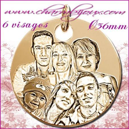 Grande médaille Ronde en Plaqué or 18 carats - GRAVURE PHOTO 6 visages