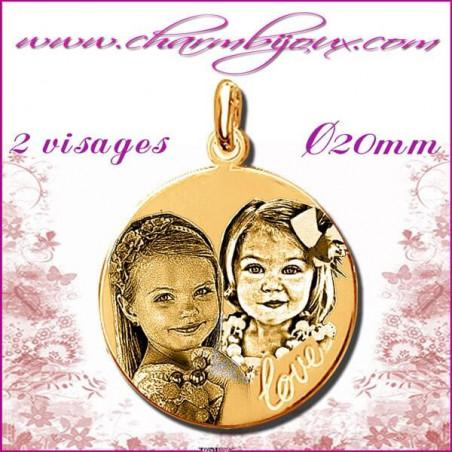 Médaille Ronde LOVE en Plaqué or 18 carats - pendentif GRAVURE PHOTO 2 visages