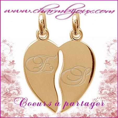Pendentif double coeurs à partager en Plaqué or 18 carats - GRAVURE initiale