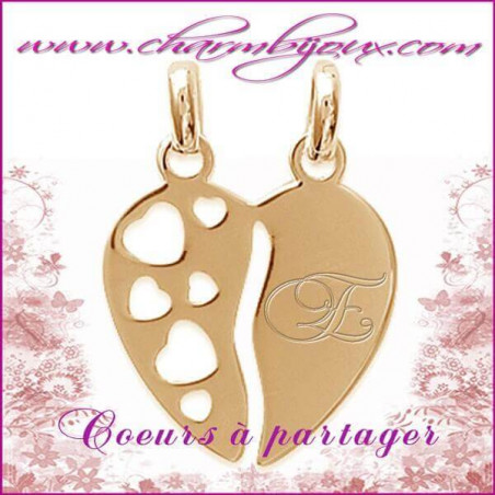 Médaille double coeurs à partager en Plaqué or 18 carats - GRAVURE initiale