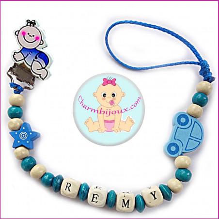 Attache tétine pour Bébé colori bleu avec Prénom OFFERT