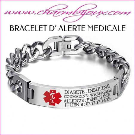 Bracelet Alerte Médicale en Acier- Gravure texte OFFERT
