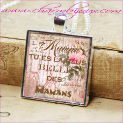 """Collier Maman Bijou avec pendentif personnalisé avec texte """"Maman tu es la plus belle des mamans"""""""