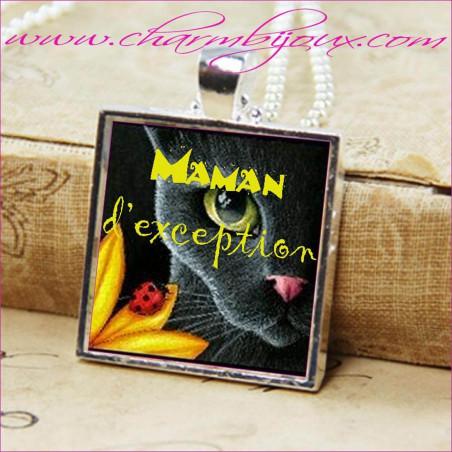 """Collier Maman bijou avec pendentif personnalisé avec texte """"Maman d'exception"""""""