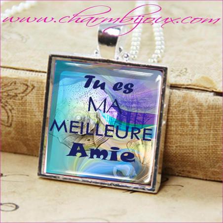 """Collier Bonheur bijou avec pendentif personnalisé avec texte """"Tu es ma meilleure amie"""""""