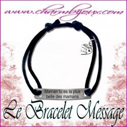Bracelet Message avec cordon réglable - Couleur au choix - Homme Femme Enfant
