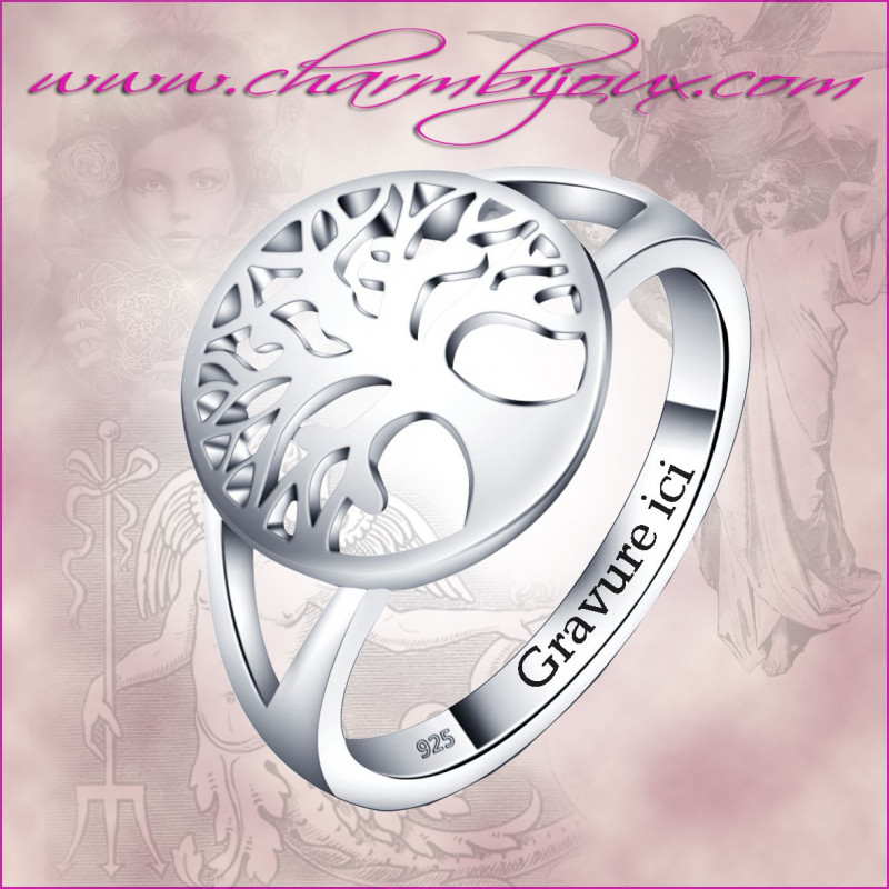 bague pour femme en argent avec le symbole de l 39 arbre de vie la force. Black Bedroom Furniture Sets. Home Design Ideas