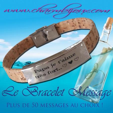 Bracelet Message en liège réglable et Acier - Pour Homme