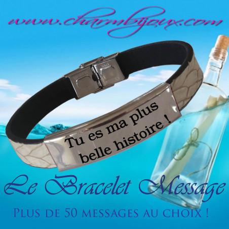 Bracelet Cuir blanc et Acier avec Message - Bracelet réglable pour Homme