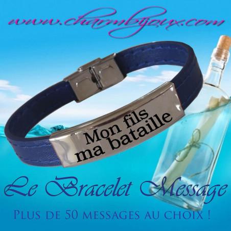 Bracelet Cuir bleu et Acier avec Message - Bracelet réglable pour Homme