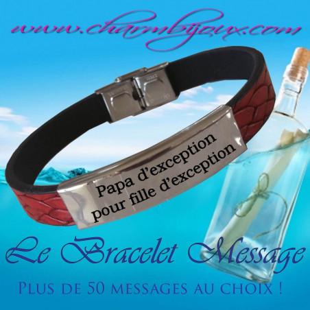 Bracelet Cuir rouge et Acier avec Message - Bracelet réglable pour Homme
