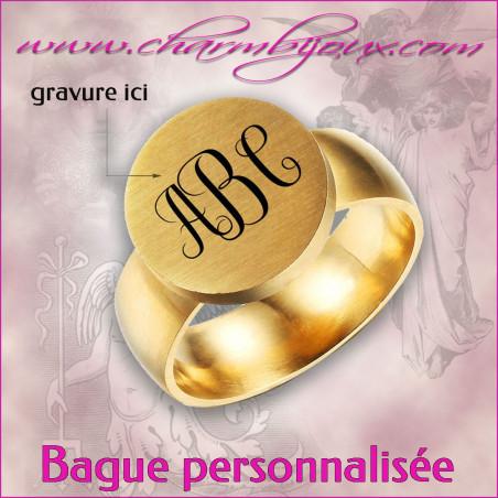 Bague monogramme en acier doré pour Homme- A personnaliser avec Gravure initiales