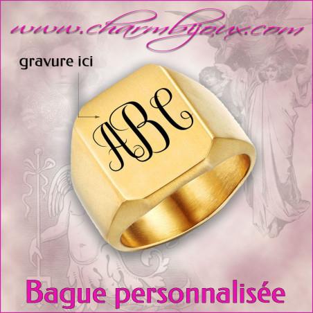 Chevalière monogramme en acier doré pour Homme- A personnaliser avec Gravure 3 initiales
