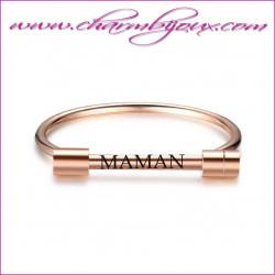 Bracelet rigide Acier rose avec gravure texte Prénom Message
