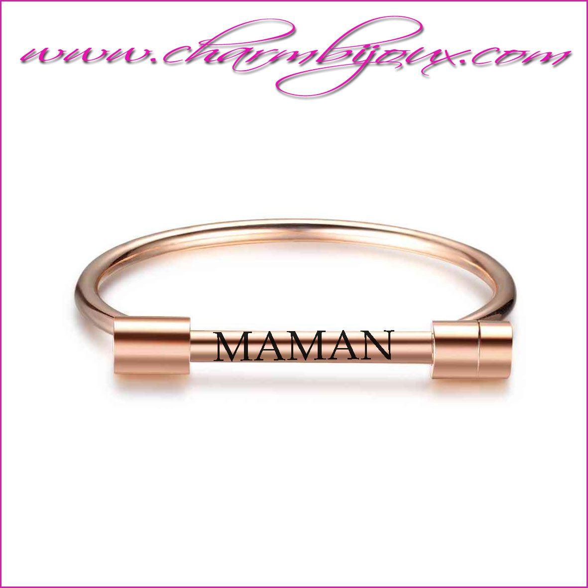 bracelet rigide maman en acier personnalis avec message pr noms texte. Black Bedroom Furniture Sets. Home Design Ideas
