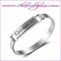 Bracelet rigide large Acier pour maman avec gravure texte Prénom Message