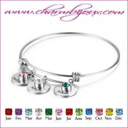 Bracelet Charm's 3 pierres de naissance et 3 prénoms gravés - Bracelet en Acier inoxydable