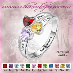 Bague 3 pierres cœurs et 3 prénoms gravés en Argent, personnalisable avec Gravure message